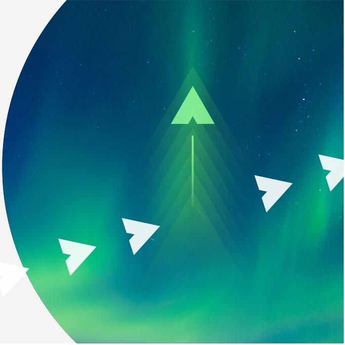Compass arrows over sky